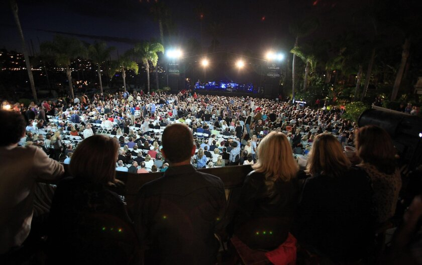 Enjoy the beautiful summer night air during a concert or comedy show at Humphreys by the Bay.
