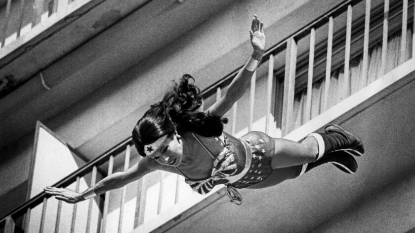 """Feb. 12, 1979: Stuntwoman Kitty O'Neil takes a 127-foot plunge from atop the Valley Hilton in Sherman Oaks into an inflatable air bag while filming a scene for the """"Wonder Woman"""" TV show."""