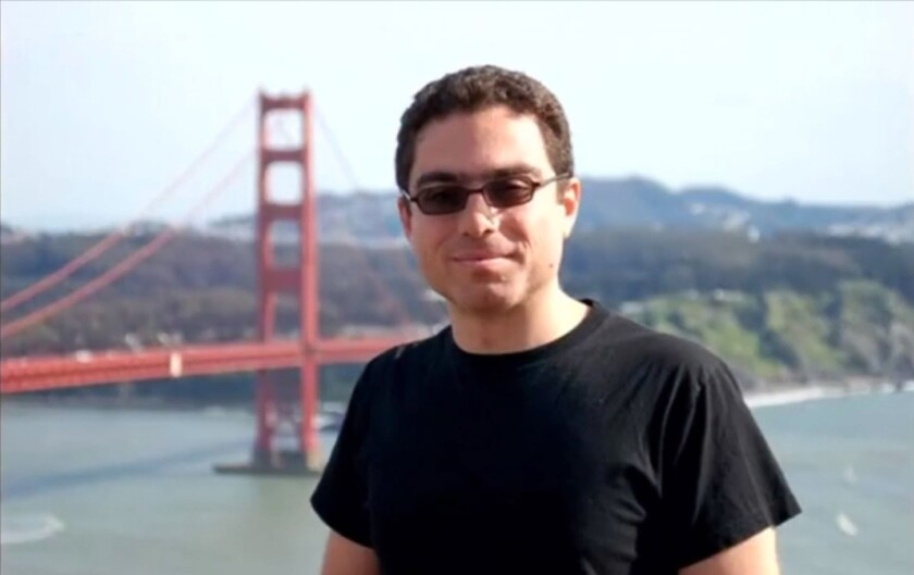 Siamak Namazi, an Iranian American who was reportedly sentenced in Iran on charges of spying for the United States, in front of the Golden Gate Bridge on a visit to California.