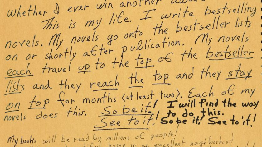 Handwritten notes on an inside cover of one of Octavia E. Butler's commonplace books, 1988, on view