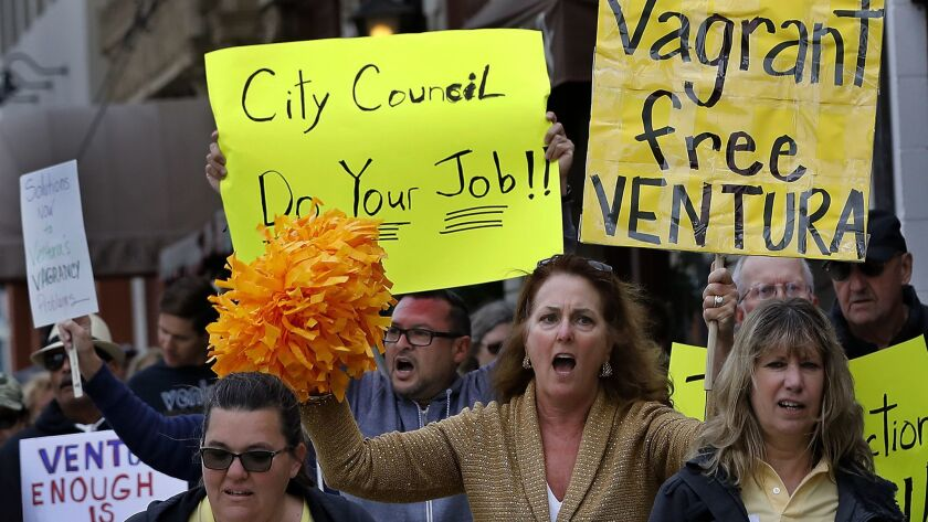 Ventura residents march toward City Hall to voice their concerns over the killing of Anthony Mele Jr.