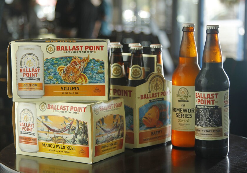A variety of draft beers at Ballast Point Tasting Room & Kitchen in San Diego's Little Italy.