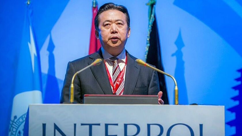 Meng Hongwei, Chinese president of Interpol, speaks in Indonesia in 2016. Meng Hongwei's wife reported him missing after he left France to travel to China.
