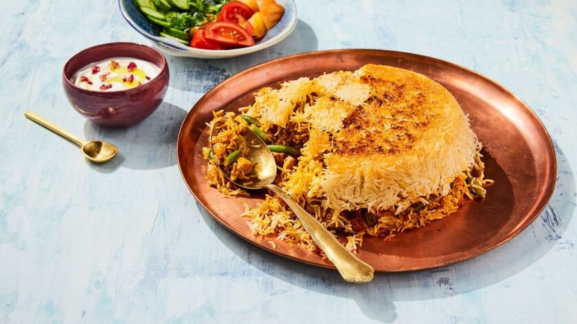 Tahdig rice with chicken and green beans