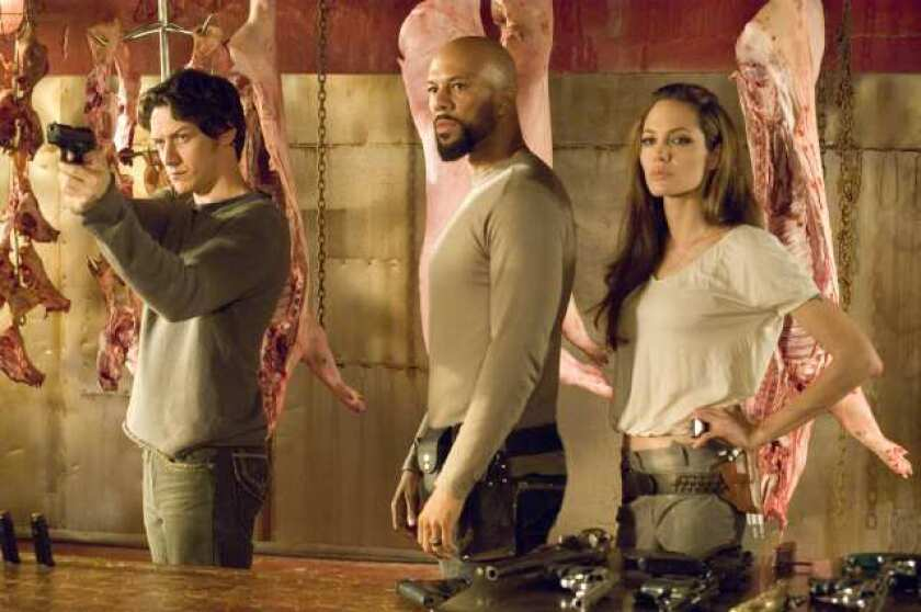"""James McAvoy, Common and Angelina Jolie in """"Wanted."""""""