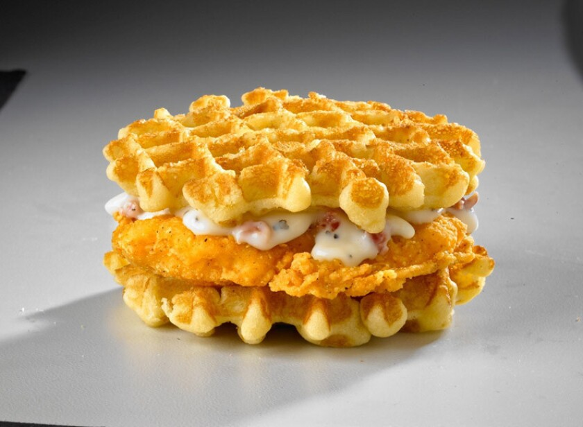 One of White Castle's new waffle breakfast sandwiches.
