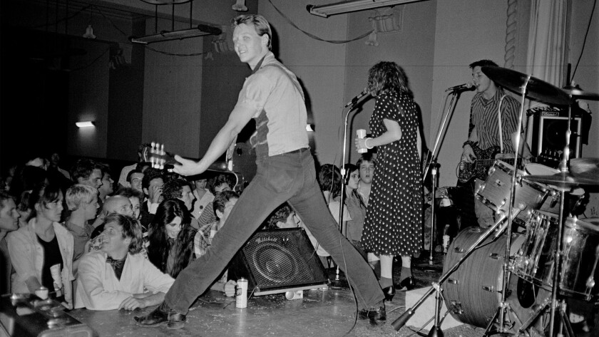 A performance by X sometime in 1978 or '79 with, from left, Billy Zoom, Exene Cervenka, John Doe.