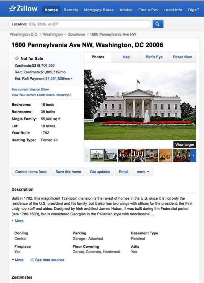 Zillow produced an entry on the White House.