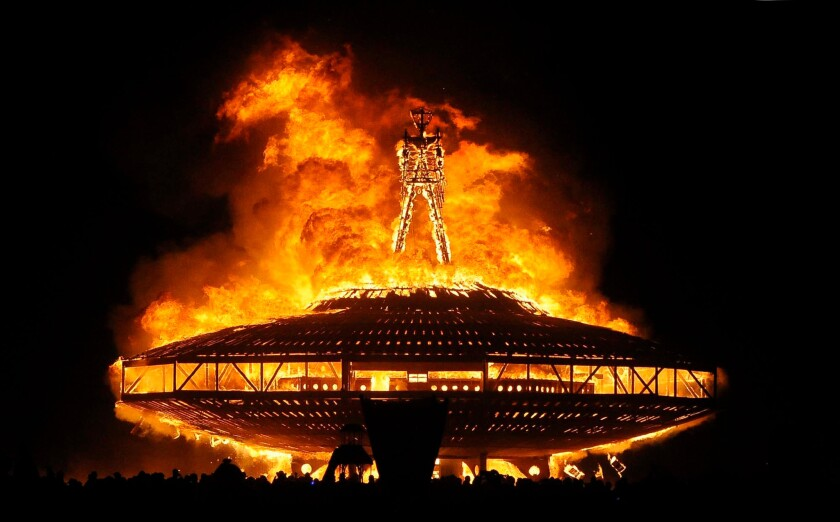 A wooden effigy burns in Nevada's Black Rock Desert on Aug. 31, 2013, as the annual Burning Man festival draws to a close.