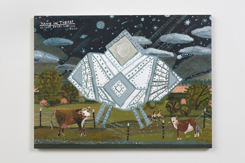 A painting by Esther Pearl Watson shows cows in a field next to a wild spaceship