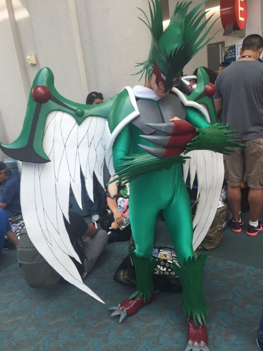 Comic-Con cosplayer Alex Kapelski, 23, from Ohio is dressed as Elemental HERO Avian from the Yu-Gi-Oh! cartoon series.