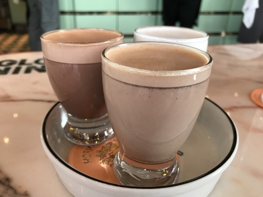 On the day I had it, Morning Glory's hot chocolate trio featured (clockwise from front) Mexican chocolate, classic chocolate and white chocolate.