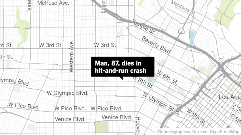 An 87-year-old man died after he was struck by two cars in a hit-and-run crash in Westlake early Saturday, police said.