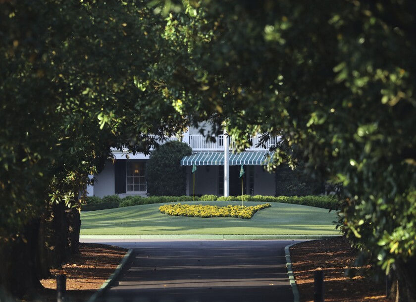 Magnolia Lane at the entrance of Augusta National Golf Club, which hosts the Masters each April.