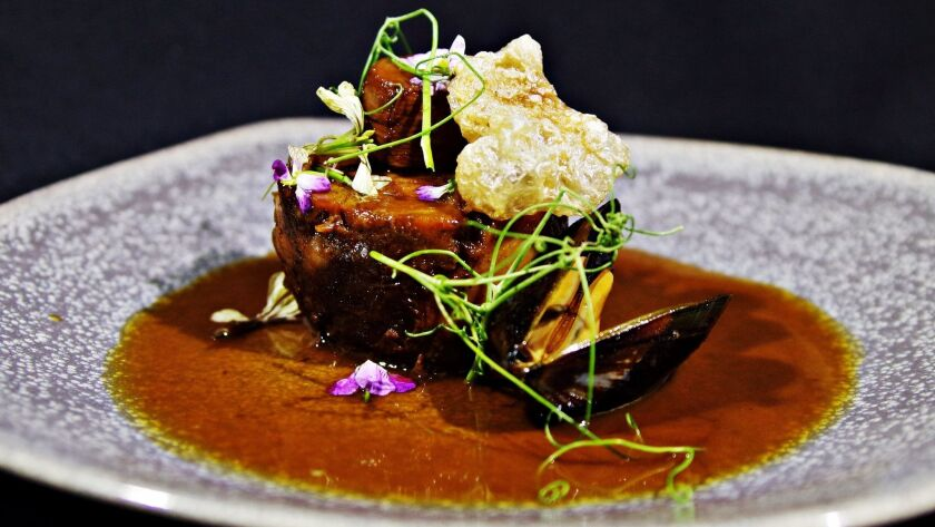 "For the ""Filipino Flavor"" collaboration dinner held at Jsix on Jan. 26, chef Anthony Sinsay created an homage to his parents: pork shank estofado."