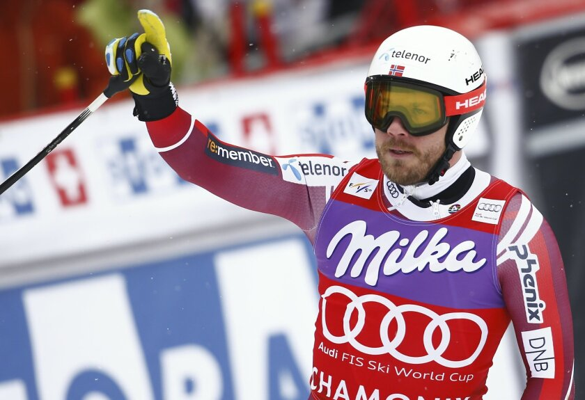 Norway's Kjetil Jansrud gets to the finish area after completing the downhill portion of an alpine ski, men's World Cup combined race, in Chamonix, France, Friday, Feb. 19, 2016. (AP Photo/Giovanni Auletta)
