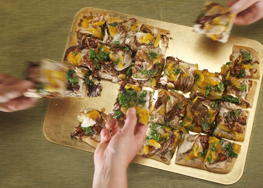 If you need a side dish hearty enough to double as a vegetarian entree, a savory pissaladiere with radicchio, spiced ricotta and poached apricots is a great low-maintenance option. Recipe: Pissaladiere