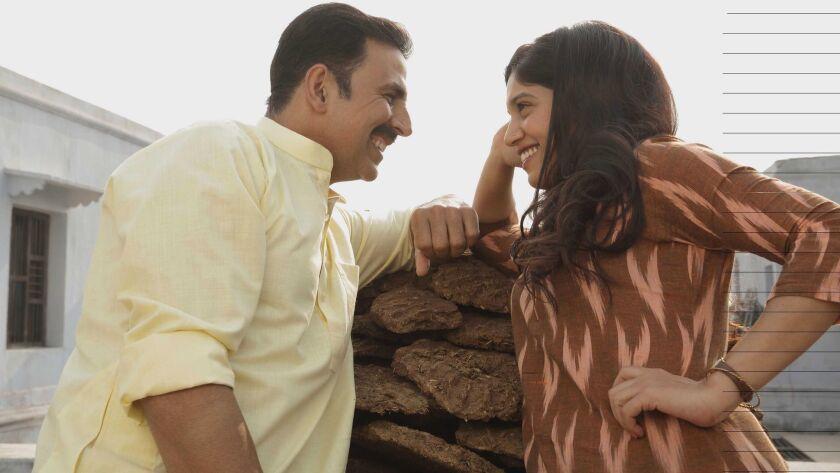 """Akshay Kumar, left, and Bhumi Pednekar star in """"Toilet: A Love Story."""""""