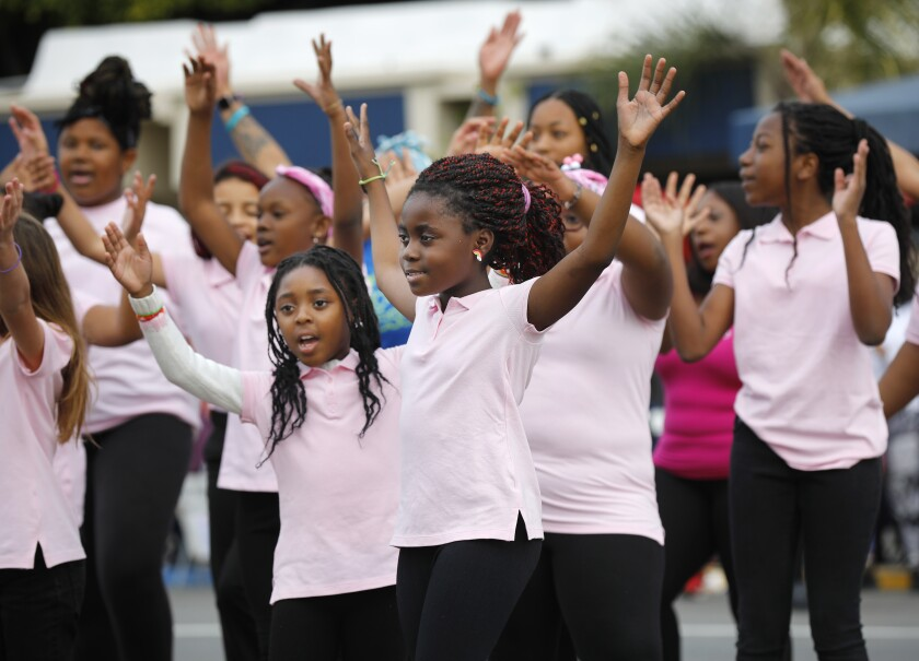 Dancers from the Bethel Baptist Church Youth Dept. perform on Harbor Blvd during the 40th Annual Martin Luther King Jr. Day Parade on Jan. 19, 2020.