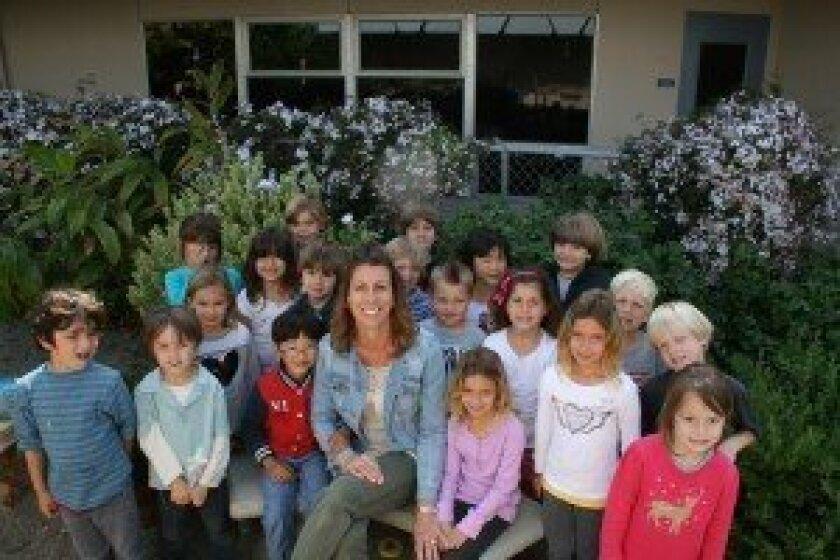 Del Mar Heights Elementary School kindergarten teacher Gina Vargus with students. Courtesy photo