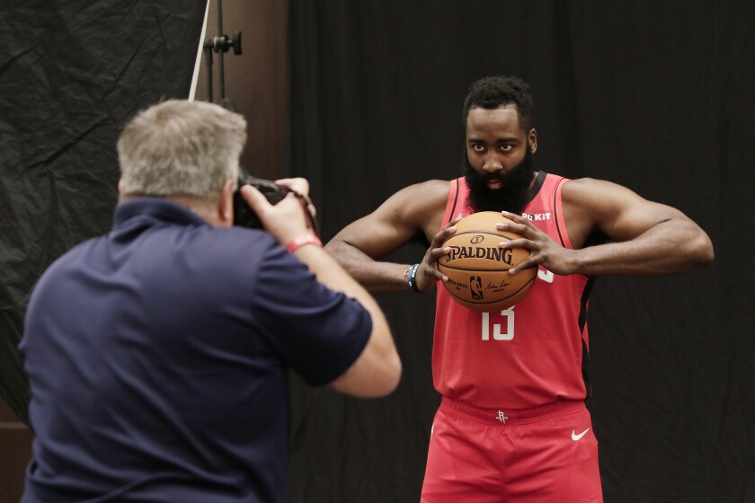 Houston Rockets' James Harden is photographed during NBA basketball media day Friday, Sept. 27, 2019, in Houston. (AP Photo/Michael Wyke)