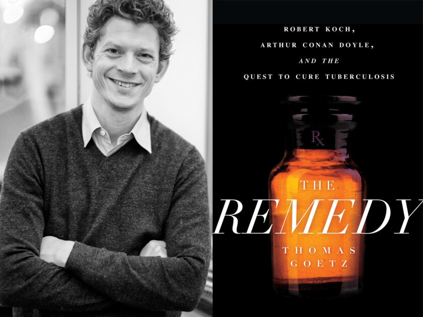 """Author Thomas Goetz and the cover of his book, """"The Remedy."""""""
