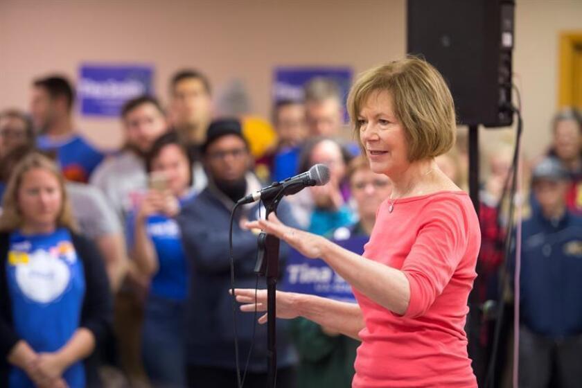 La senadora demócrata Amy Klobuchar realiza un acto de campaña por el Senado de los Estados Unidos, el lunes 5 de noviembre de 2018, en Mineápolis, Minesota (Estados Unidos). EFE/Archivo