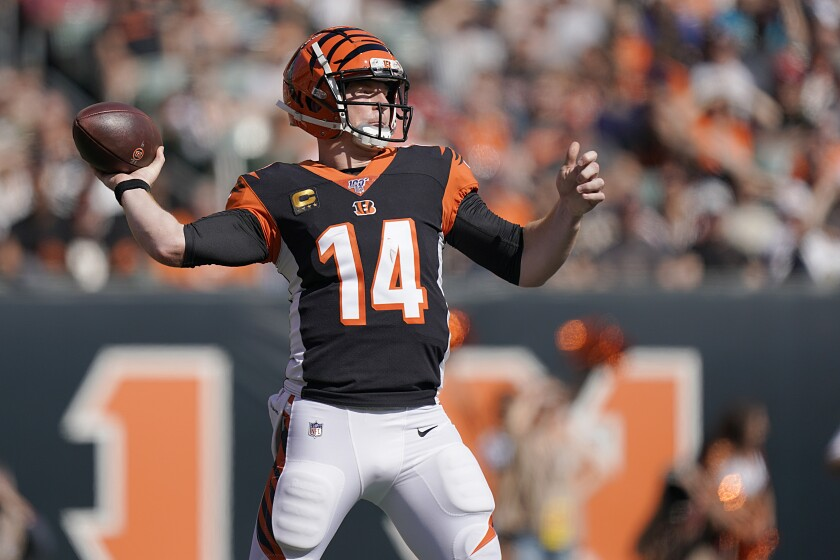 Bengals quarterback Andy Dalton throws during his team's 27-17 loss to Jacksonville on Oct. 20, 2019.