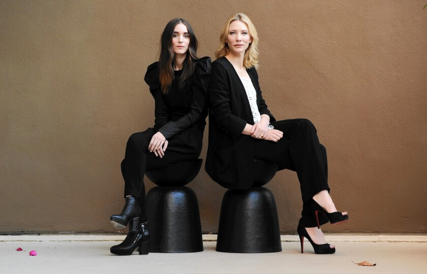 """Actresses Roony Mara, left, and Cate Blanchett star in """"Carol,"""" which is based on the Patricia Highsmith novel."""