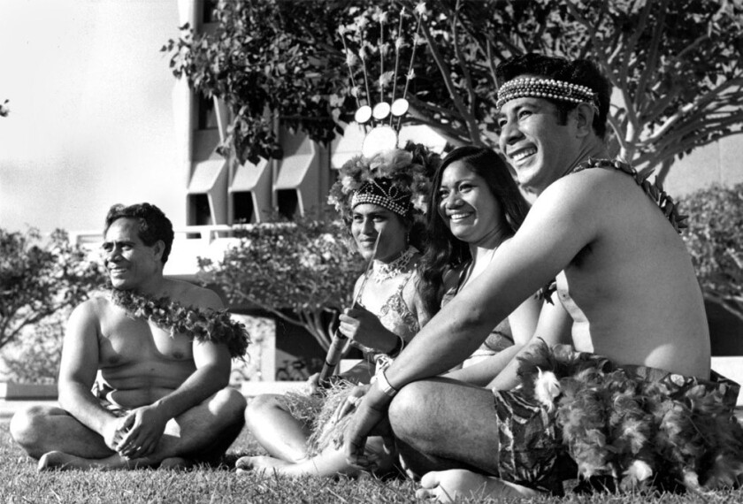 A group of Samoans chill out at UC Irvine's newly minted brutalist campus in the late 1960s - all part of a social-studies experiment.
