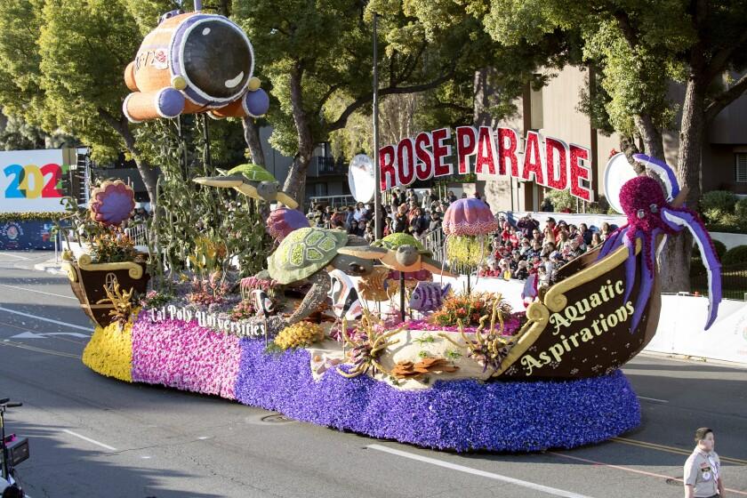 "The 2020 Cal Poly Universities Rose Parade float ""Aquatic Aspirations"""