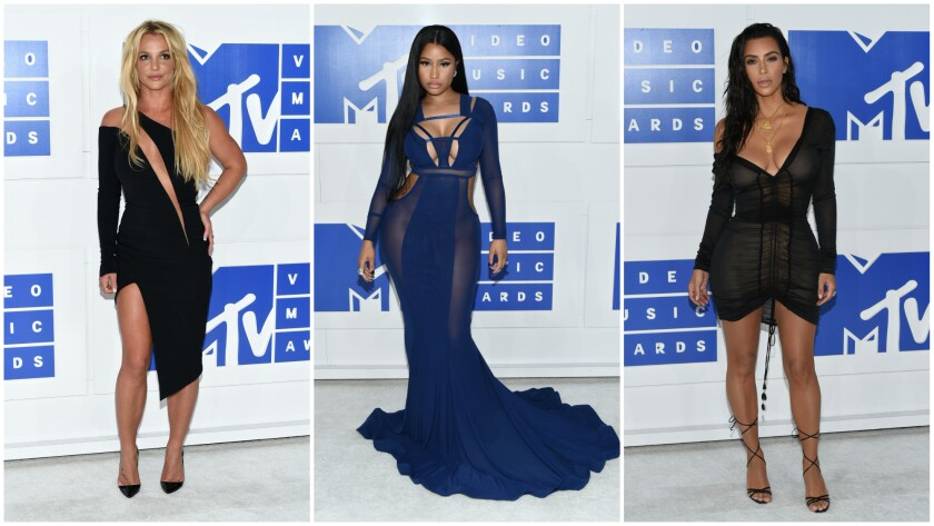 Among those in sheer or skin-baring looks were, from left, Britney Spears, Nicki Minaj and Kim Kardashian West