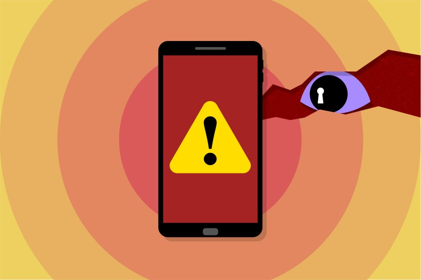 An illustration of a warning on a cell phone