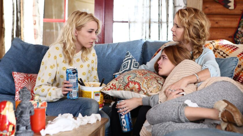 """(L-R) Madelyn Deutch, Lea Thompson and Zoey Deutch in """"The Year of Spectacular Men"""" movie."""