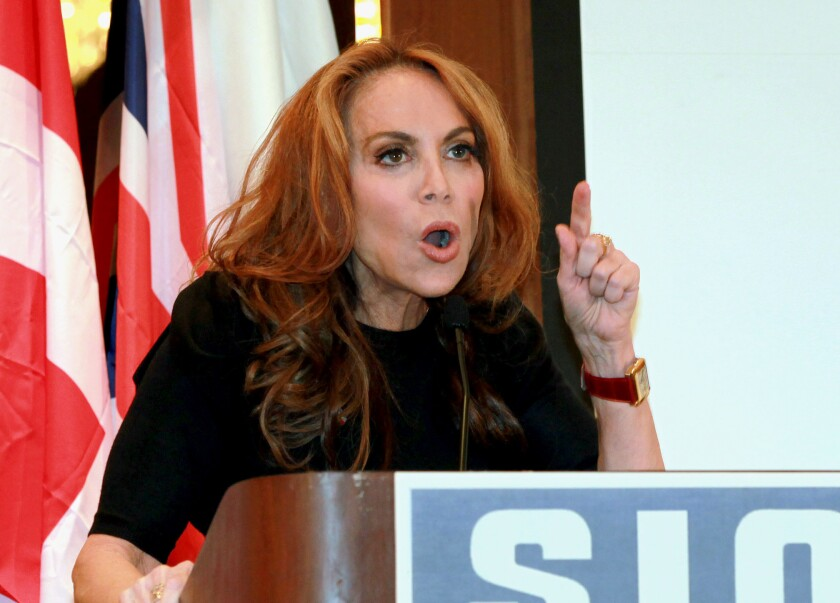 In this Sept. 11, 2012 photo, Pamela Geller, head of the American Freedom Defense Initiative, speaks at a conference in New York.