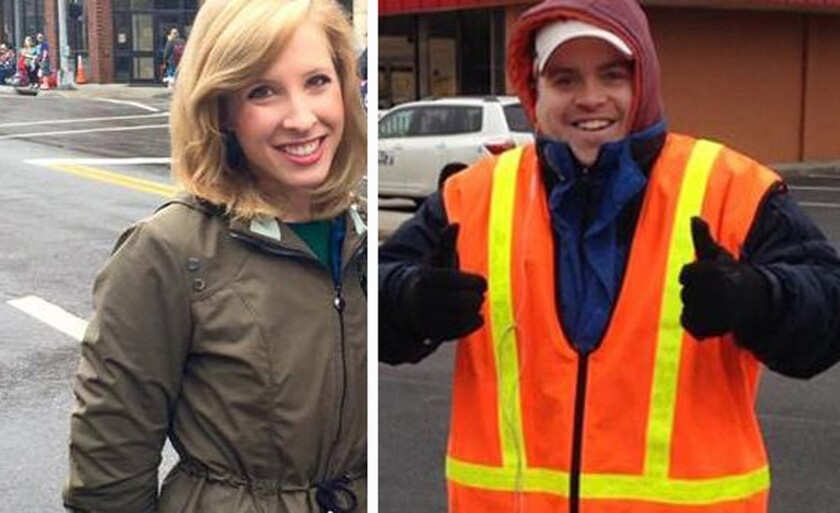 Alison Parker, left, and cameraman Adam Ward were fatally shot during an on-air interview for WDBJ-TV on Wednesday. Authorities identified the gunman as their former colleague Vester Lee Flanagan II, who appeared on air as Bryce Williams.