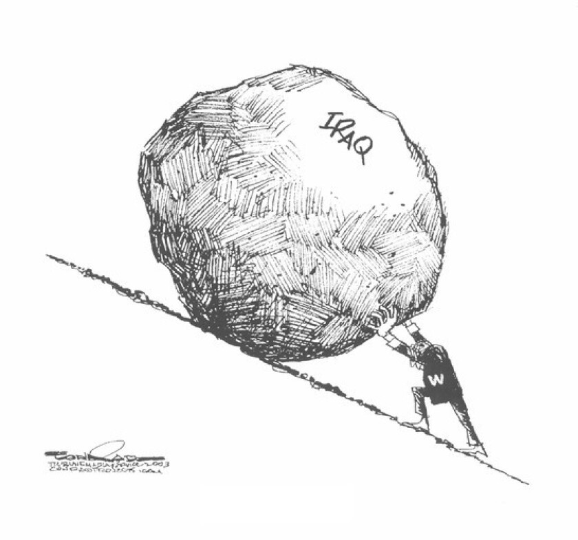 Conrad's editorial cartoon of President Bush as the Greek mythological character Sisyphus.