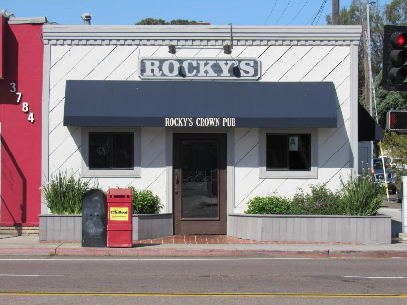 Rocky's Crown Pub is at 3786 Ingraham St. in Pacific Beach/San Diego. Food is served from 11 a.m. to 10 p.m. daily. The bar stays open until 11:30 p.m.