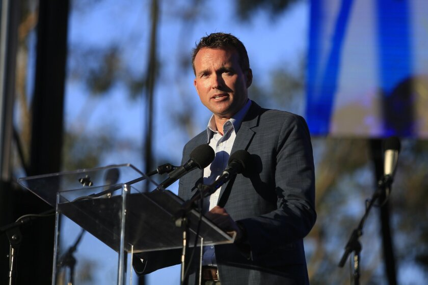 Army Secretary Eric Fanning speaks Friday at the Spirit of Stonewall rally in Balboa Park. / photo by David Brooks * U-T