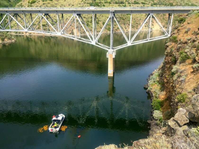 In this photo provided by the Ada County Sheriff's Office, the Boise Fire Department dive team searches for an SUV driven by a 40-year-old Boise woman that plunged off a cliff into the Lucky Peak Reservoir Thursday, June 2, 2016, in Boise, Idaho. Divers with the Boise Fire Department recovered the