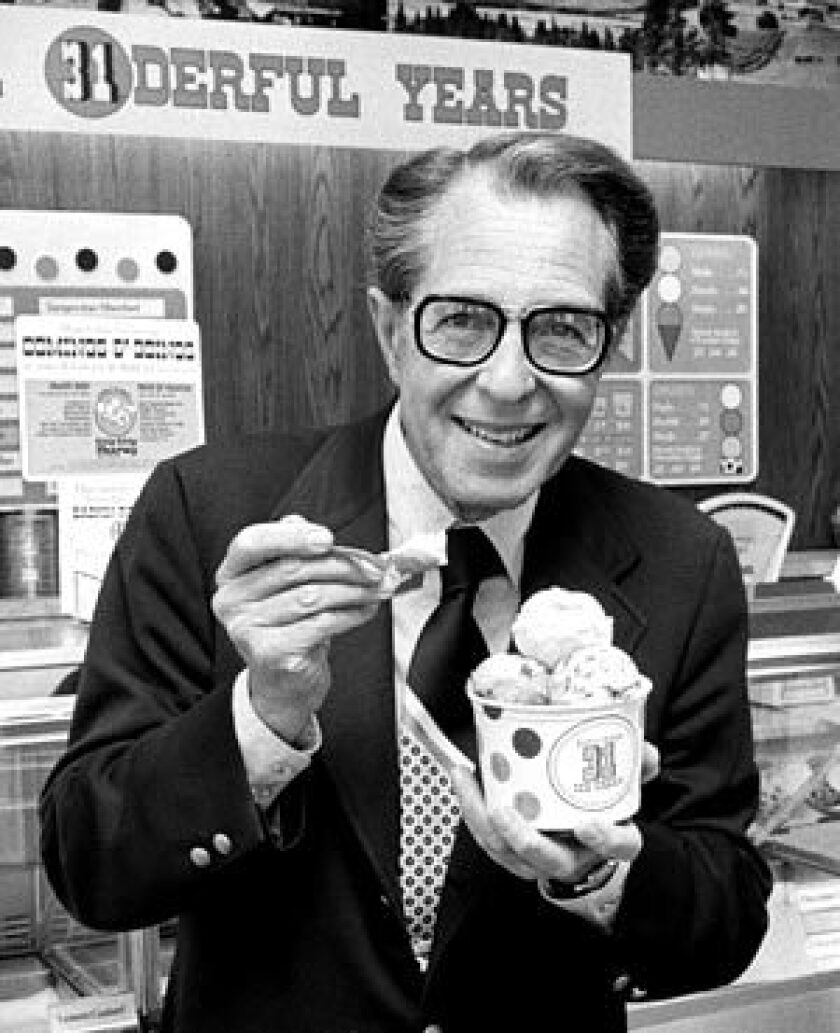 Irvine Robbins, co-founder of Baskin-Robbins, in 1976.