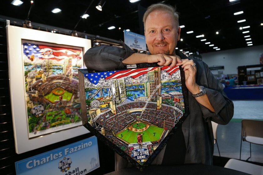 SAN DIEGO CALIFORNIA, USA -- JULY 7, 2016: ..Artist Charles Fazzino holds the special home plate art piece that will be used at the opening of the MLB All Star game at Petco Park on Tuesday....Mandatory Credit: PHOTO BY NELVIN C. CEPEDA, SAN DIEGO UNION-TRIBUNE
