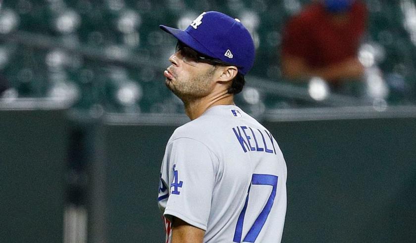 Dodgers pitcher Joe Kelly makes his now-famous pouty face toward Houston's Carlos Correa