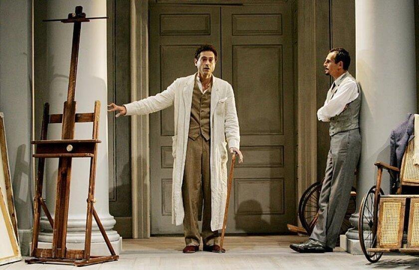 "Adolf (Omar Metwally, left) talks with Gustav (T. Ryder Smith) in La Jolla Playhouse's ""Creditors."""