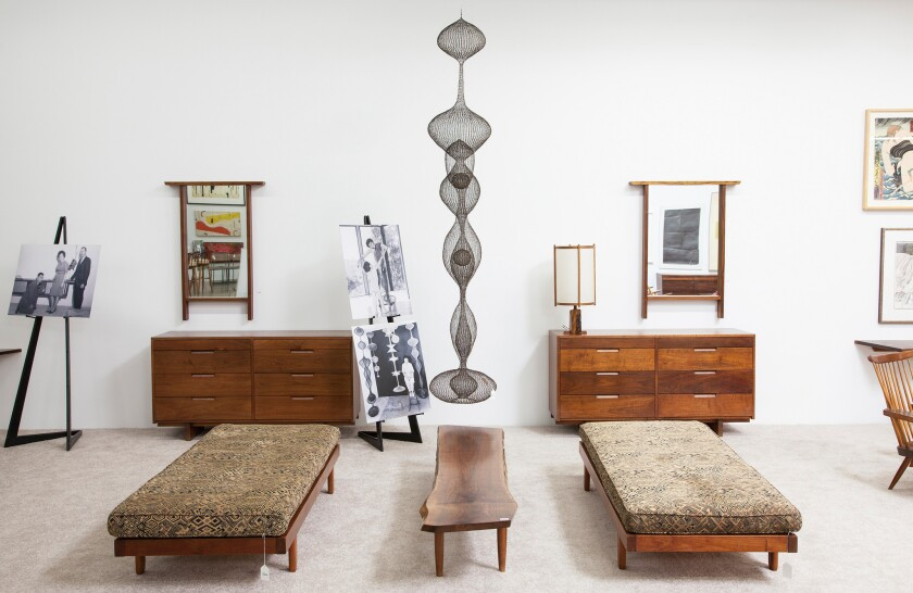 """Ruth Asawa's intricate hanging sculpture, """"Untitled S. 437,"""" sold for a record $1.43 million on Sunday at the Los Angeles Modern Auction sale."""