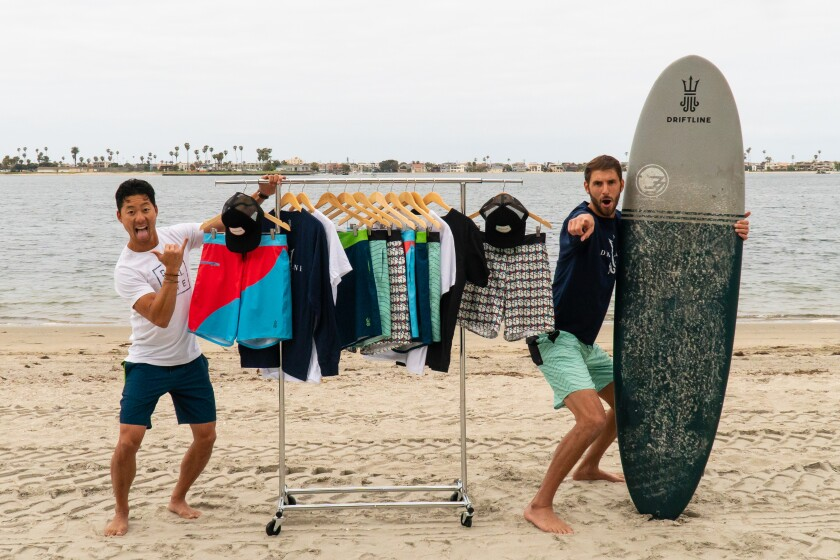 Greg Orfe and Wes Horbatuck, co-founders of Driftline, sport Drifties, their hybrid wetsuit-and-board shorts creation.