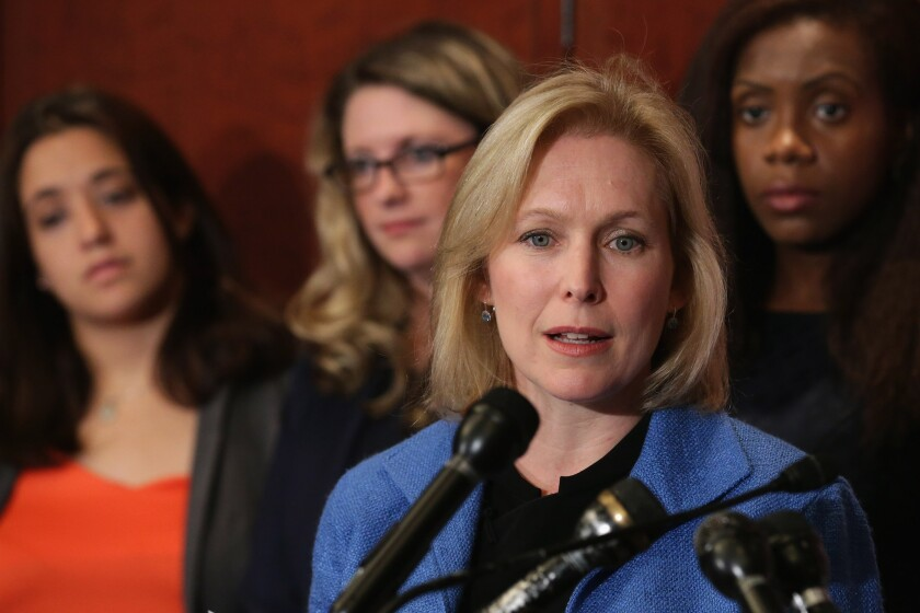 In her new memoir, Sen. Kristen Gillibrand (D-N.Y.), shown in July, cites instances in which congressional colleagues made insensitive remarks about her weight.