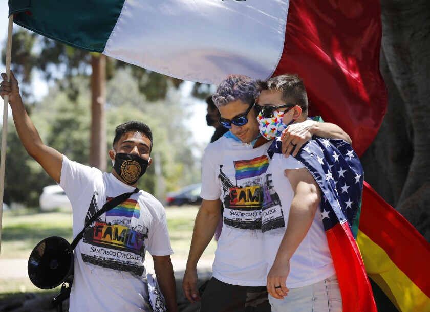 Oscar Rendon, left, Adrian Ramirez, and Sebastian Dunne organized the Love & Equality, Gay Pride Protest.