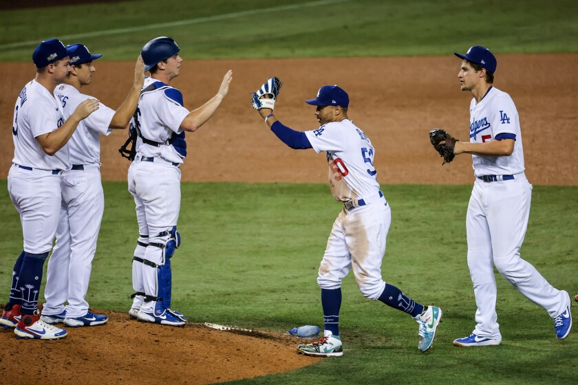 Dodgers celebrate their Game 1 victory.