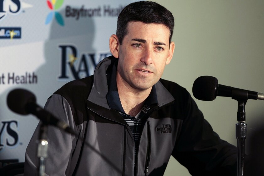 Tampa Bay Rays baseball operations president Matt Silverman speaks at a news conference during baseball spring training at Charlotte Sports Park in Port Charlotte, Fla., on Friday, Feb. 20, 2015. (AP Photo/Tampa Bay Times, Will Vragovic) TAMPA OUT; CITRUS COUNTY OUT; PORT CHARLOTTE OUT; BROOKSVILLE HERNANDO TODAY OUT